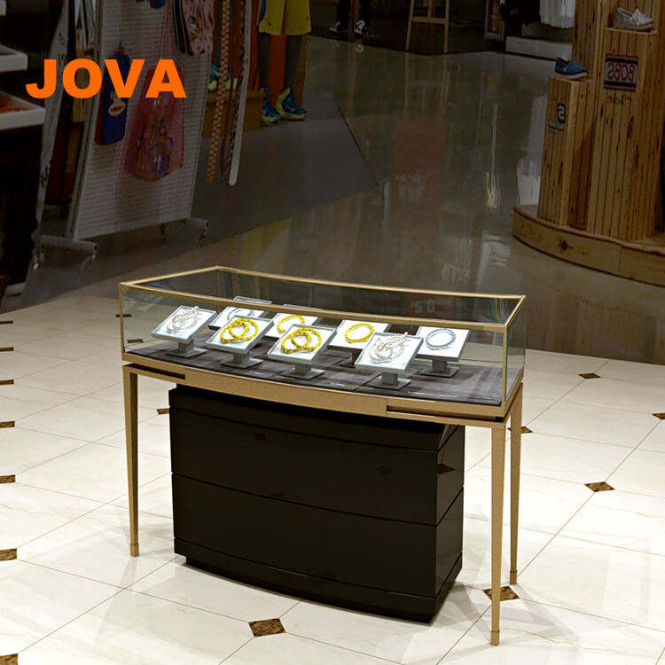 China Factory Glass Display Showcase Gold Jewelry Shop Design