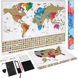 5% OFF Order Today 2018 NEW!!!ZORAS SF Express 6days Fast Shipping to Amazon Wearhouse World Scratch Map With Custom Design Tube