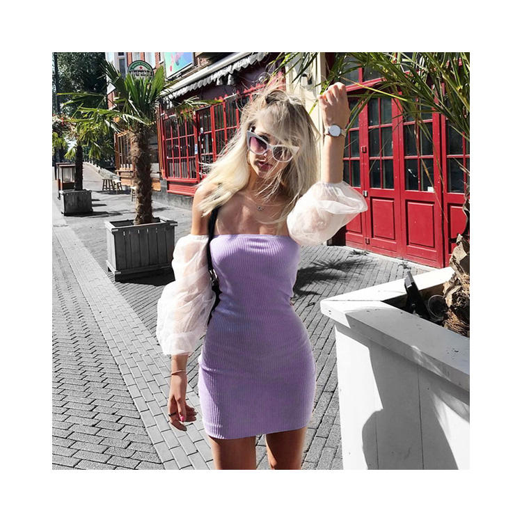 YH2215 Korea Summer Fashion Dew Shoulder Women Low Bosom Casual Bodycon Dress