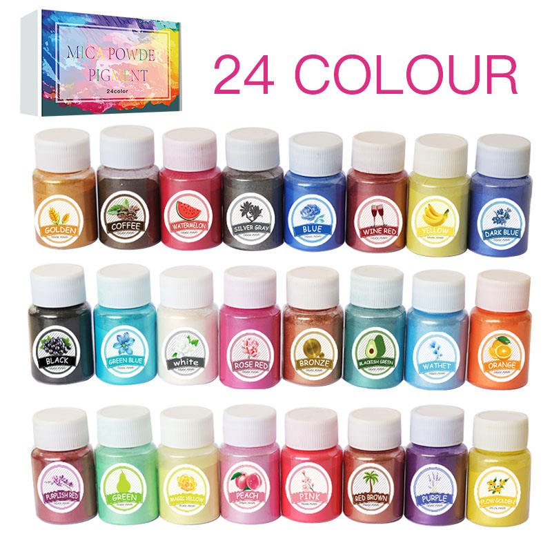 Osbang 24 color Natural bulk Mica pearl pigment powder pearlescent pigment colorful for Soap Making Colored Mica powder