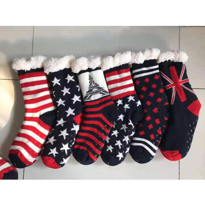Skidproof Womens cable Knit christmas Festive Winter fur Fleece Slipper home Acrylic socks