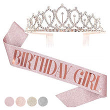 Rose Gold Princess Happy Birthday Crown 21st 30th 40th 50th Birthday Girl Birthday Sash And Crown Kit Party Decoration