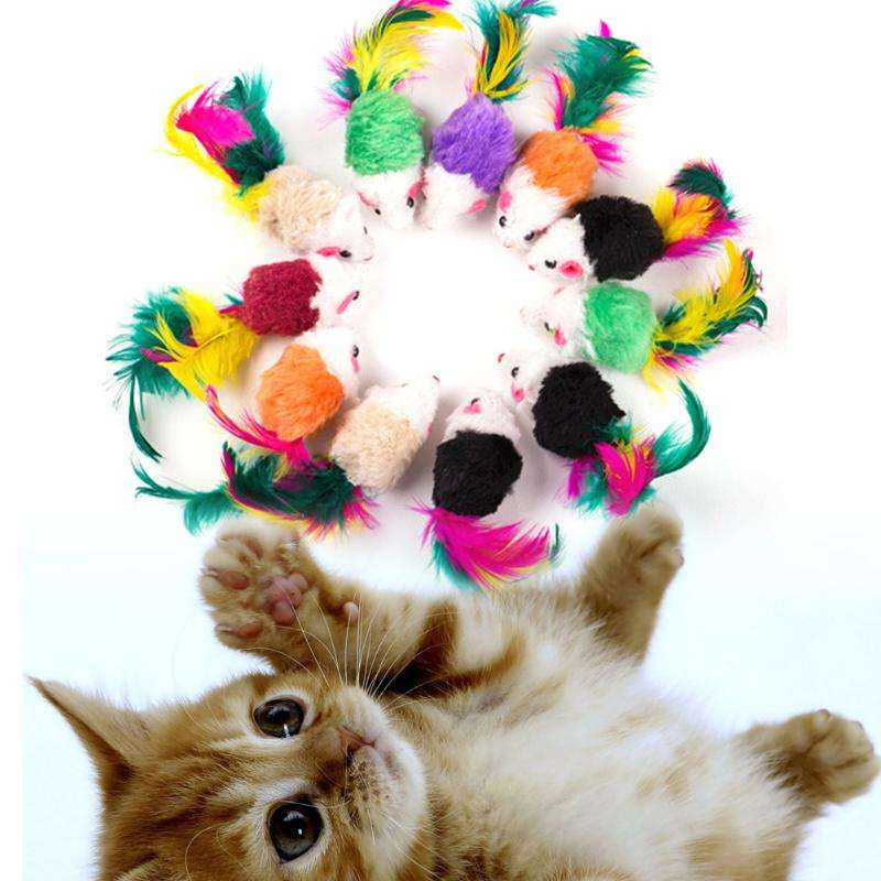 Dropshipping Cat Toys False Mouse Pet Cat Toys Mini Funny Playing Toys for Cats with Colorful Feather Dogs Balls Eco-friendly