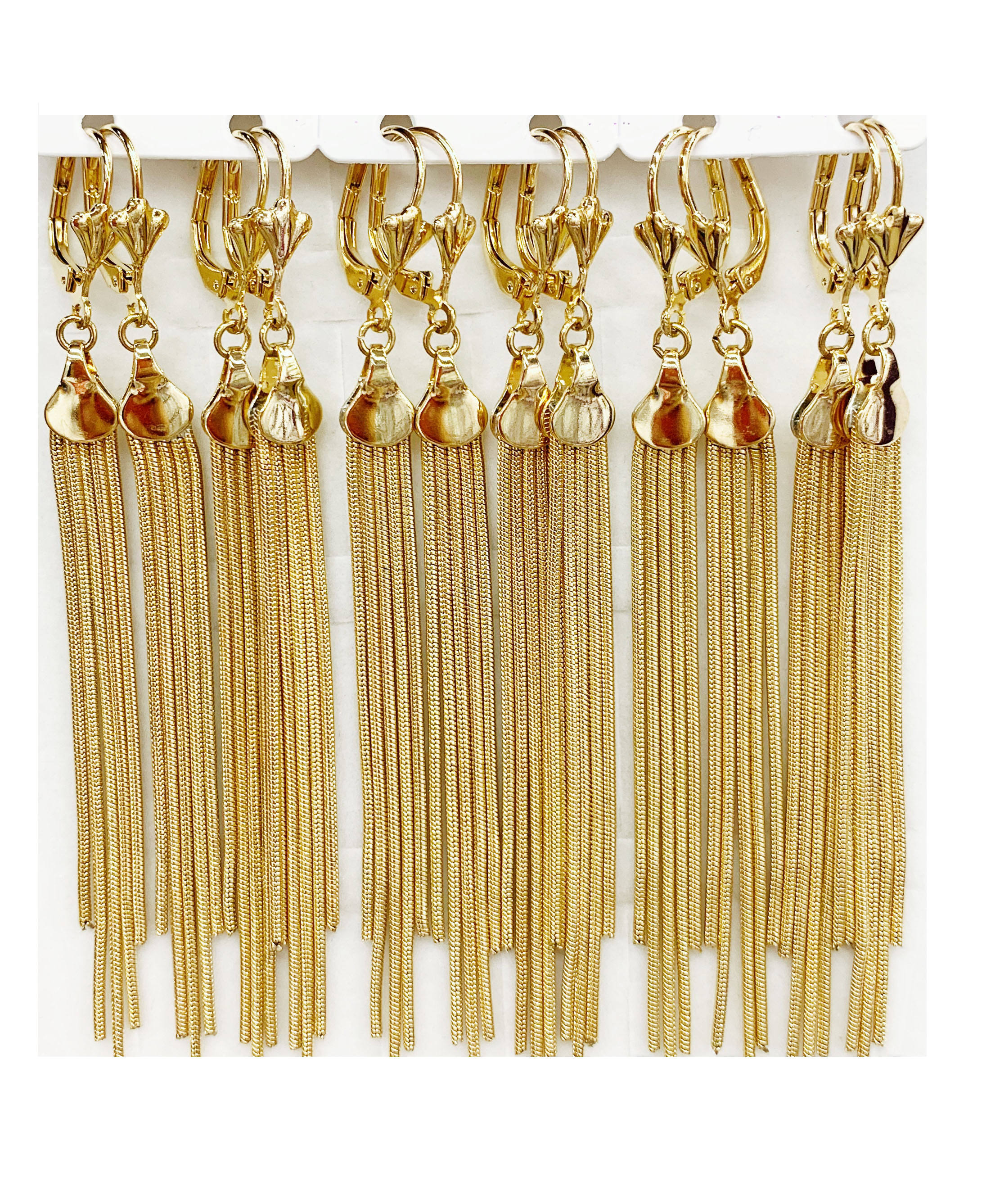 96865 xuping jewelry fashion gold plated tassel drop stone long earring for women
