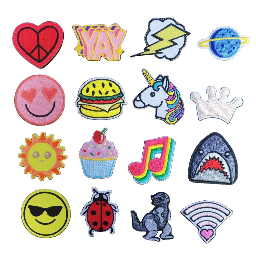 Custom embroidered patches applique cartoon planet animal soccer band embroidered badge embroidery patches for kids clothing