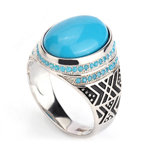 Promotion Pure S925 Sterling Silver Blue Turquoise Men Ring,Turkish White Gold Plated Pave Setting Stone Rings for Man Women