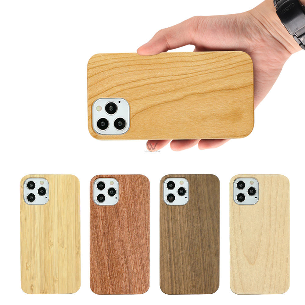Plain Bamboo Cherry Phone Cases Solid Wood Soft TPU Wooden Natural Back Cover Phone Cases For iPhone 12