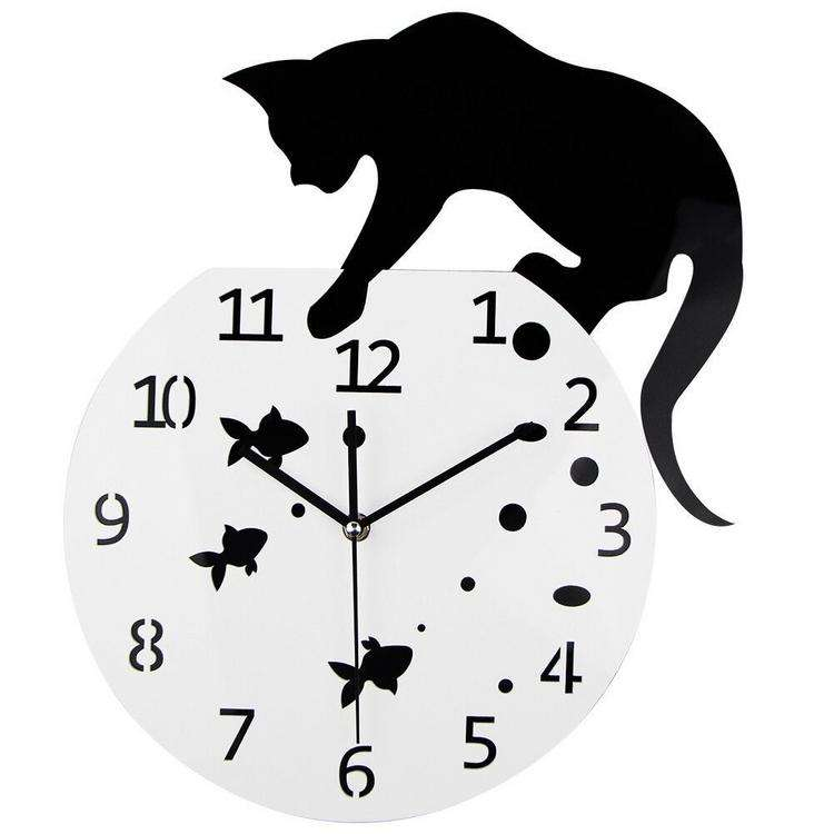 Acrylic Clock Wall Hanging Modern Clock Naughty Cat Home Decor Watch Wall Sticker for Nordic Home Decoration