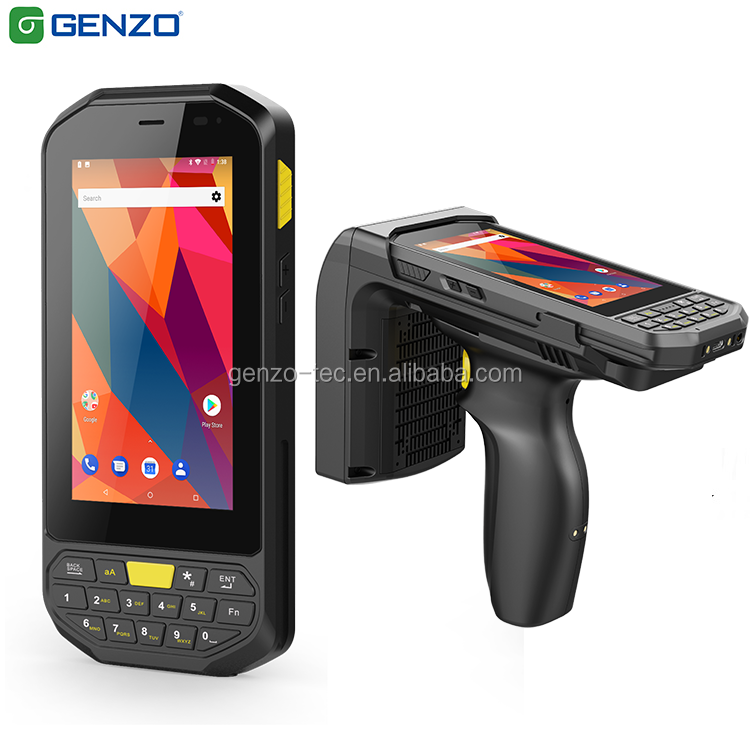"GENZO Cheapest 4"" Android Handheld Barcode Scanner With Keyboard industrial pda with nfc UHF Rfid reader medical pdas"