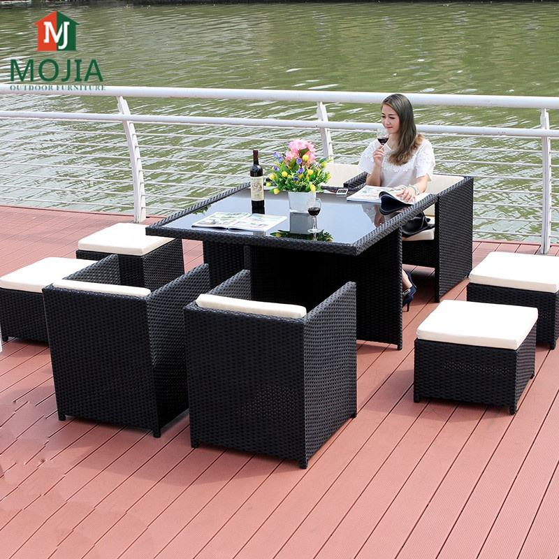 Manufacturer Supply Patio Furniture PE Rattan Furniture Wicker Furniture Dining Table Comfortable Garden Set For Outdoor Living