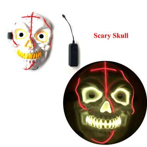 Party Props Cosplay Kostuum Lichtgevende Masker Maskerade Enge Schedel Halloween Led El Draad Dj Masker Light Up Neon Party Masker