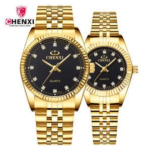 CHENXI 004A Lover Quartz Crystal Diamond Gold Wristwatches Custom Design Waterproof Couple Watch