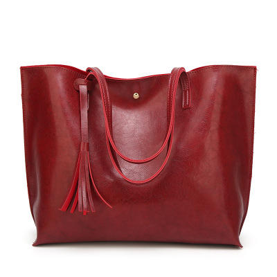 Boshiho China Manufacturer Wholesale Fashion Women soft PU Leather tote shoulder Handbags Tote Bags big capacity tassel handbag