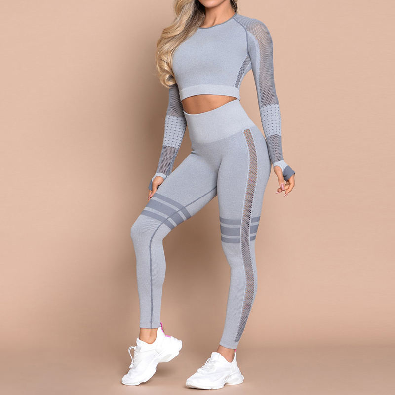 Sexy Hollow Mesh Fitness Apparel Open Navel Female Slim Sports Wear Long Sleeve Fitness Yoga Set