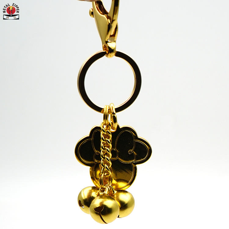 High quality wholesales custom logo with three golden bell christmas gift metal keychains