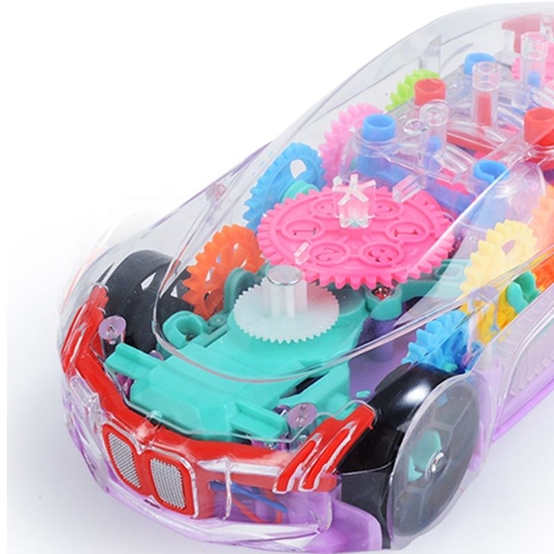 Children Electric Toy Flashing Light B/O Transparent Racing Track Universal Concept Car Toy With Music