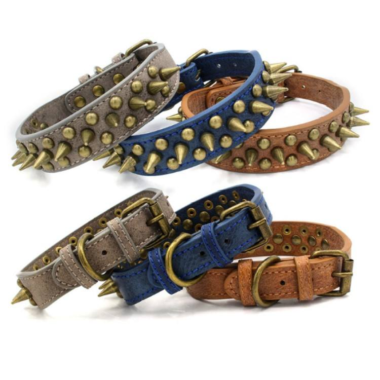 Adjustable Rivet Spiked Studded Dog Collar Cool Dog Neck Strap Outdoor Sports Cool Pet Collar with Rivet Pets Accesory