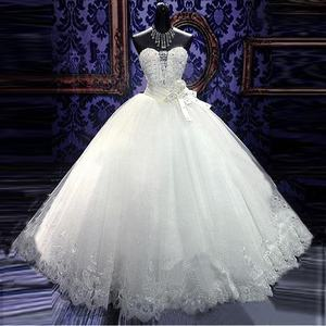 Cheapest luxury ball down wedding dress bride gowns with crystal heavy beaded
