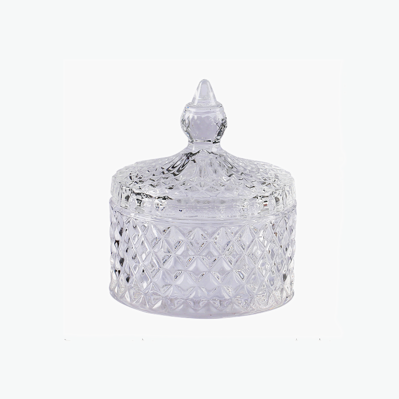 Custom eco-friendly glass candle holders with glass lid empty candle jars