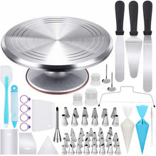 Wholesale Home Kitchen Complete Metal Cake Tools With Rotating Cake turntable Pastry Nozzles Making Accessories