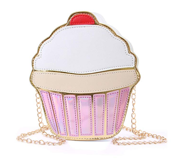 Cupcake Popcorn PU Leather Crossbody Bag Shoulder Bag Small Purse and Cell Phone Bag