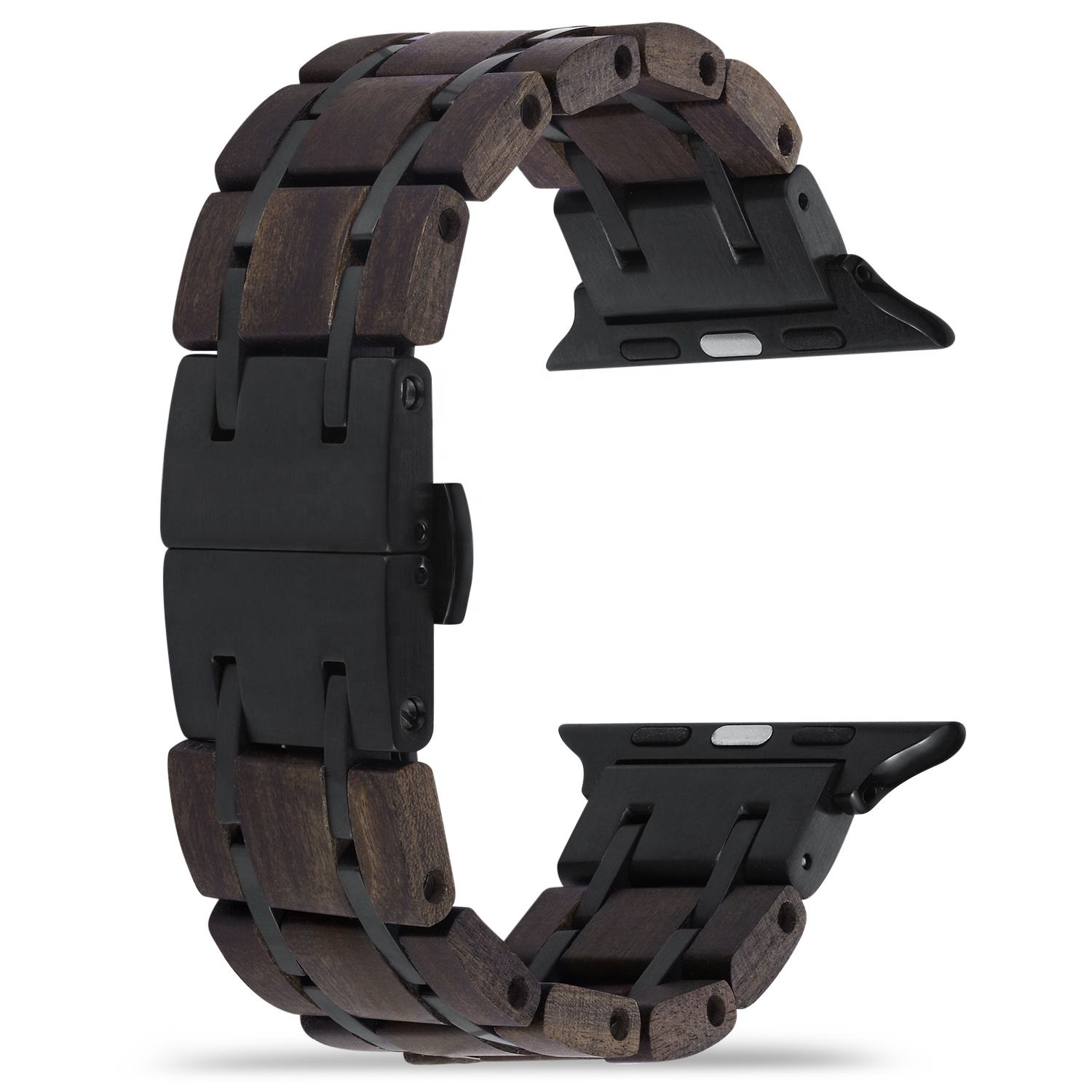 A015 wood apple watch strap band compatible with IWATCH series 6 SE 5 4 3 Luxury drop shipping to USA ETSY Amazon