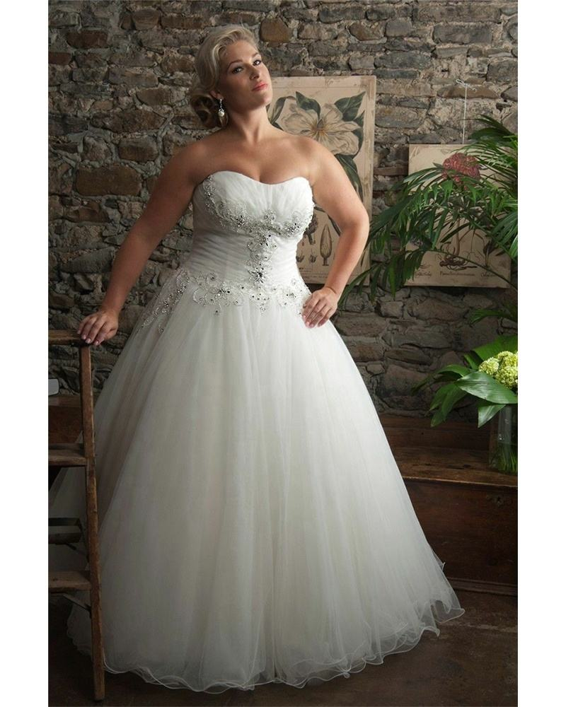 Fine Pleated Lace Wedding Dresses A Line Strapless Bridal Gowns 22+ 24+ Plus Size