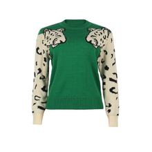 Women Casual Leopard Print Knitted Pullover Sweaters Long Sleeve Crew Neck Jumper Tops