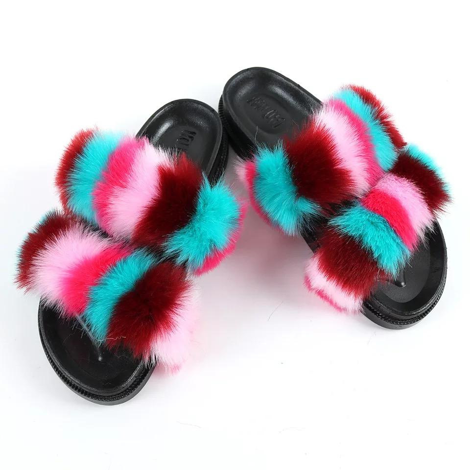 Slide-on Sandals Open Toe Flat Shoes Women Home Baboosh Leopard Fur Slippers