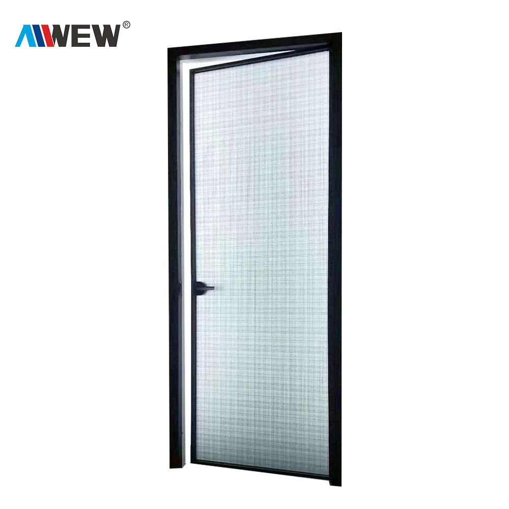 Alwew design china aluminum toilet bathroom kitchen decoration aluminium glass swing door