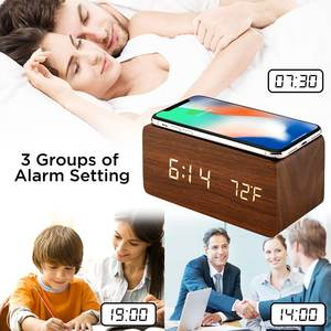 home Modern Multifunctional Wireless Charger Table Desktop LED Wooden Digital Alarm Clock Wood With Wireless Charger