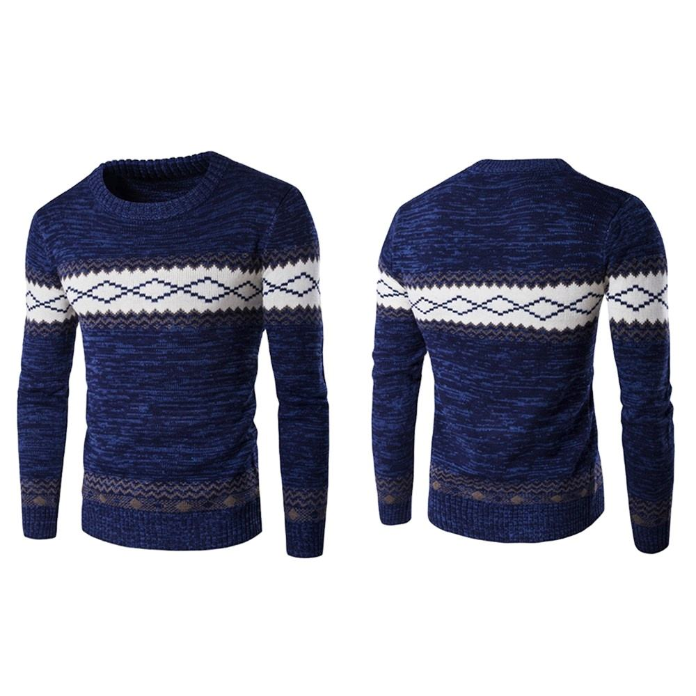 Customized 100% Cotton Pullover Knitted Jacquard Christmas Mens Sweaters For Winter