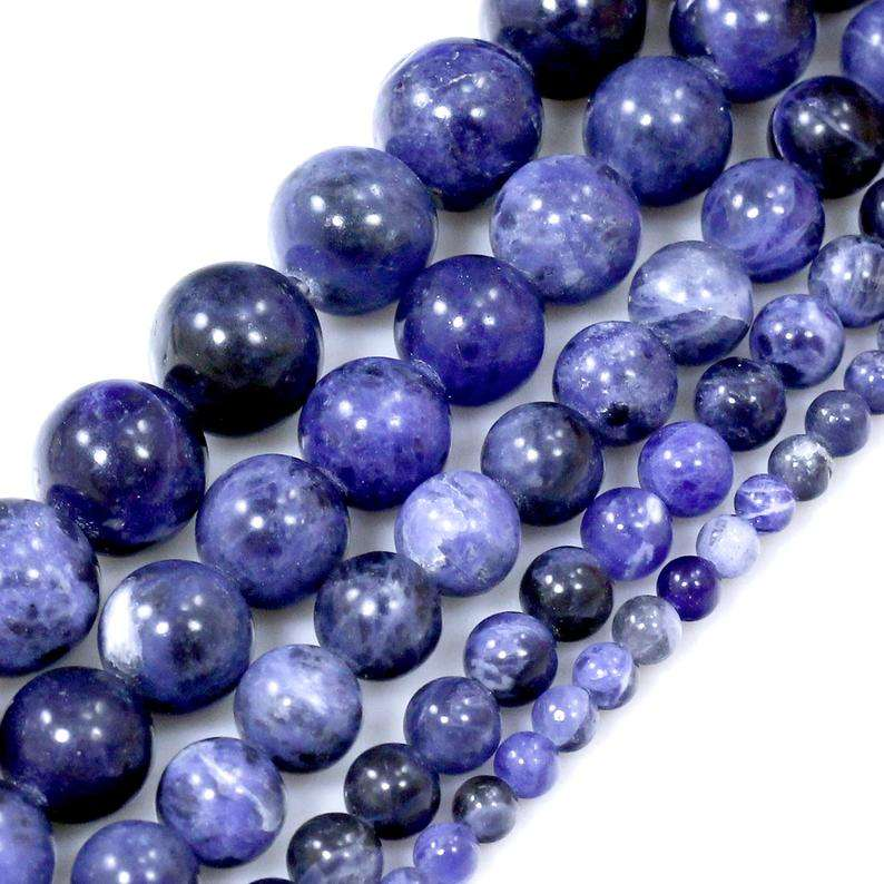 Natural Blue Gemstones Blue Sodalite Round Spacer Loose Beads 15""