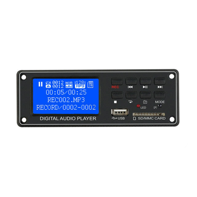 TPM005c MP3 <span class=keywords><strong>Player</strong></span> Modul <span class=keywords><strong>Digital</strong></span> Audio Decoder Board Dot Matrix LCD Display USB SD FM dengan Remote Control