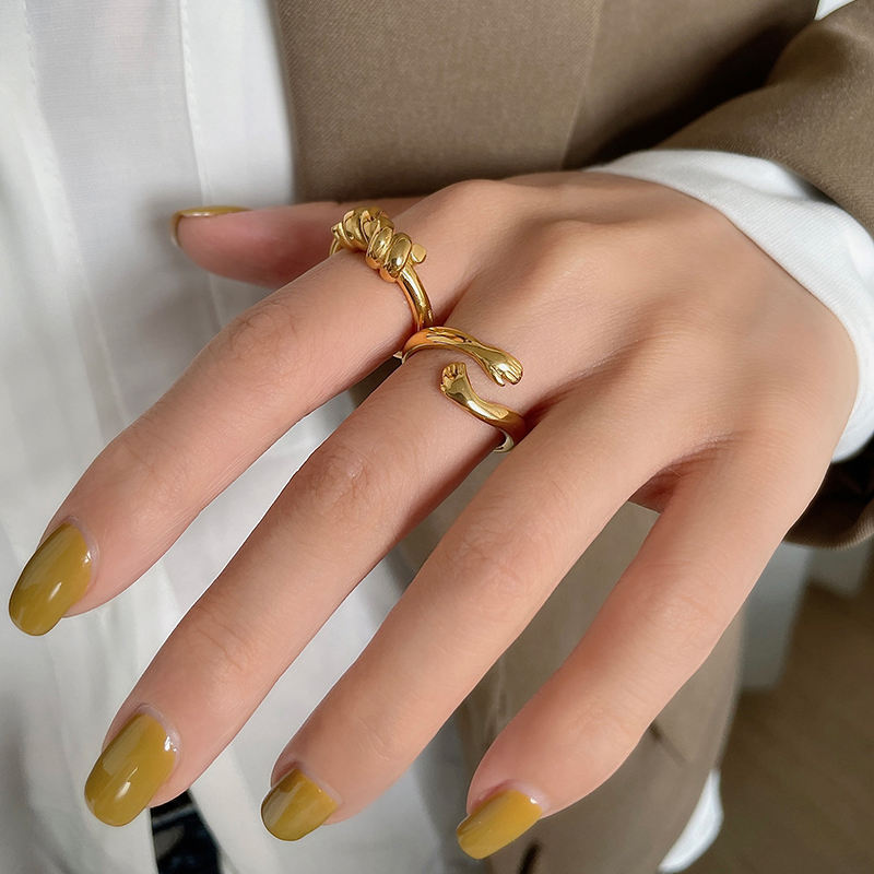2 Designs 18K Gold Plated Hug Small Hand Rings Knotted Twisted Geometric Rings for Women Minimalist Stainless Steel Jewelry 2021