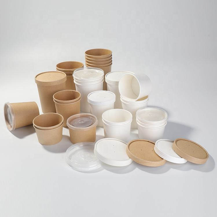 Manufacturer's disposable soup cup, kraft paper 26oz bowl and bucket