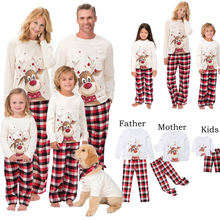 Hot style home wear pajamas European and American printed color long sleeve christmas matching family pajama