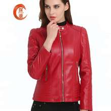 PJ1956A Autumn winter new style women's slim fit fur clothing ladie's short motorcycle PU leather jacket
