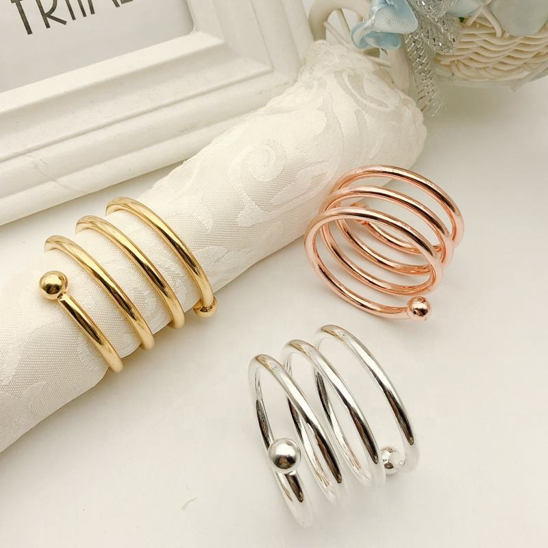 Cheap Rose Gold Napkin Rings Metal Rope Wedding Napkin RingSilver Steel Wire Round Napkin Buckle for Wedding Party HWM01