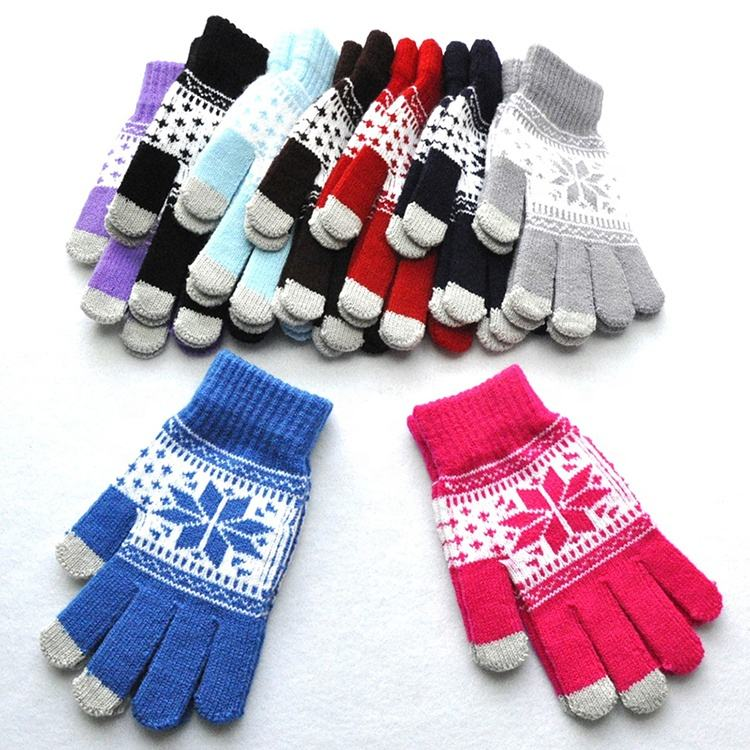 Winter Warm Touchscreen Jacquard Acrylic Knit Glove