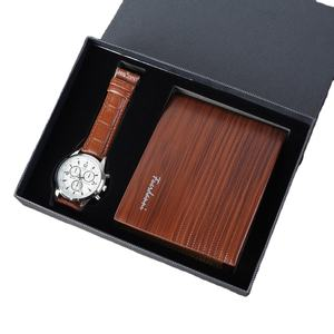Custom logo accepted business Christmas gift set for men wallet watch gift set