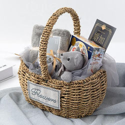 Cocostyles bespoke handmade simple style woven basket baby gift set with handle for rustic newborn baby souvenir Black Fridy