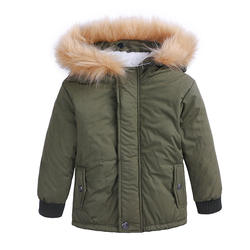Hot sell fashion casual boutique hooded thick warm solid color long sleeve tops winter wear kids children baby coat boy