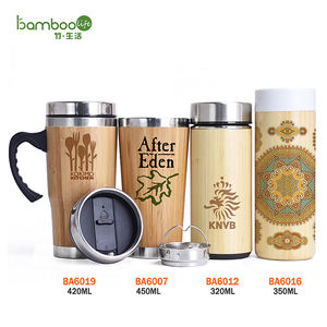Promotional BPA free design bamboo thermos steel mugs travel coffee cups custom tumbler bamboo water bottle