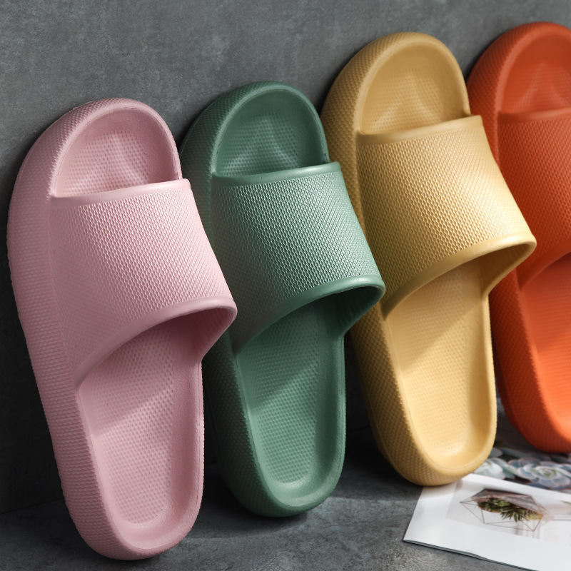 Candy Color Solid Color Blank Slides Morning Bathroom Slippers rubber slippers