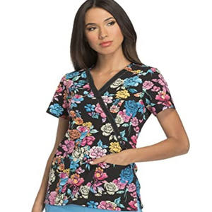 Manufacturer Product Women's V Neck Side Fork Floral Print Wrap Scrubs Top