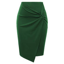 KK001162 Women Solid Color Asymmetrical Wrap Front Stretchy Bodycon Pencil Skirt