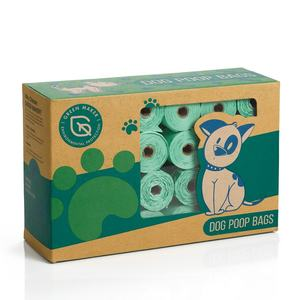 Custom logo eco friendly scented compostable thick biodegradable pet dog waste poo bags