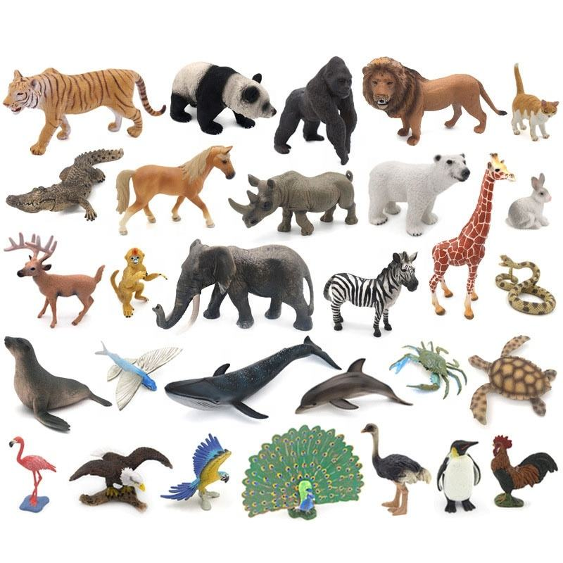 Kids Realistic 3D Simulation Wild Animal Birds Sea Fish Zoo Models Deer Anime Figure Cake Topper Lion Toys Educational