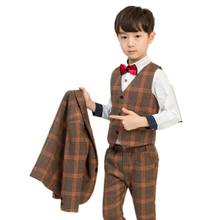 Baby Boy Suits Wedding Blazer Formal Boy Clothes Plaid Kids Tuxedo Black Brown Party Suits Flower Children